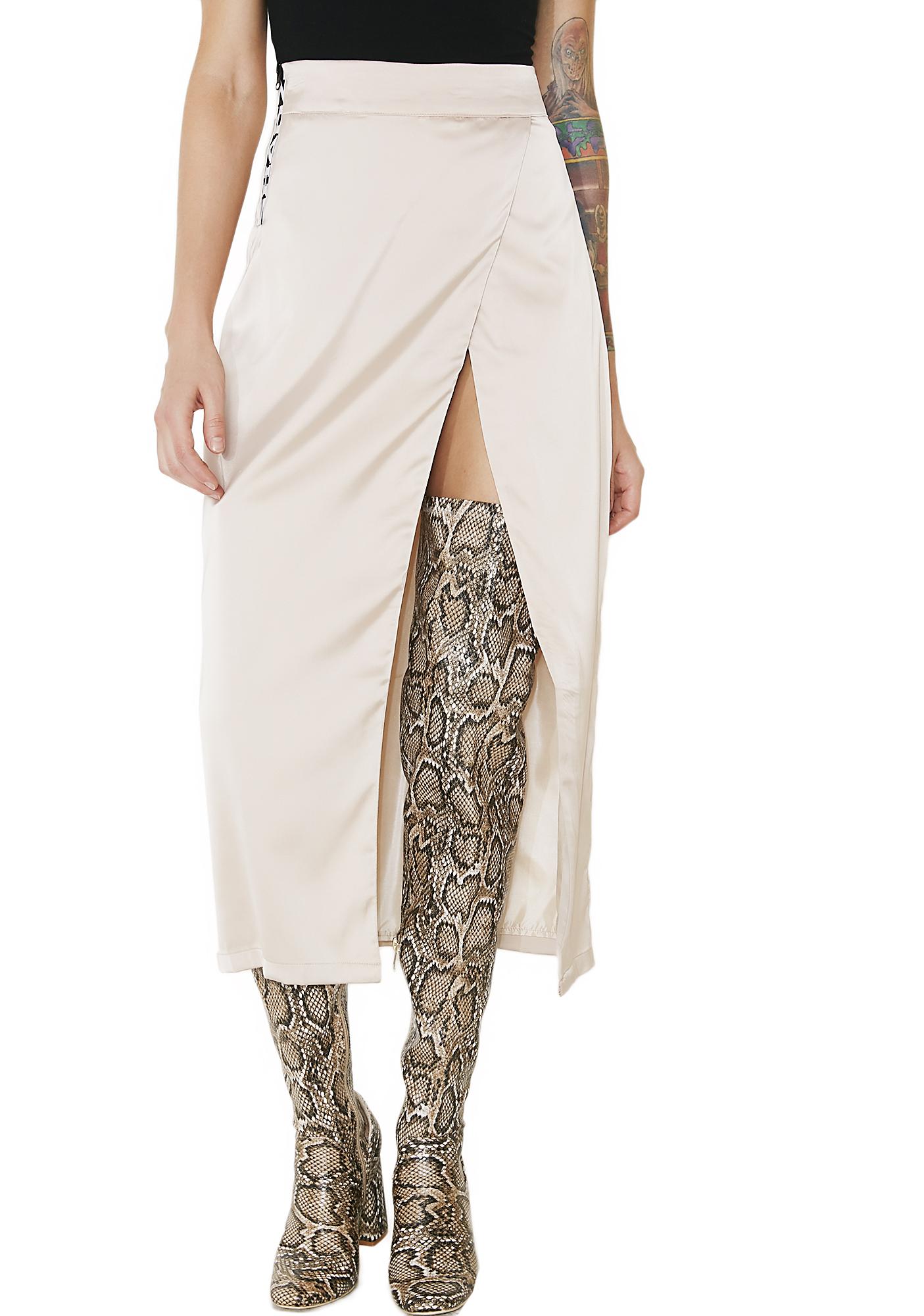 Shade London Zip High Slit Skirt