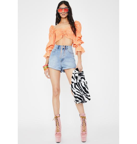 Tiger Mist Orange Fiore Floral Crop Top