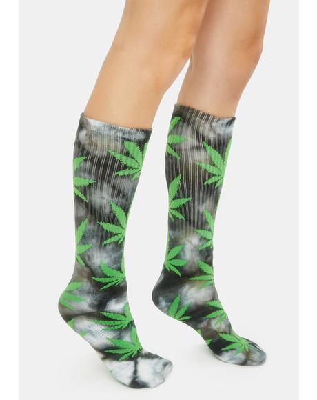 Green Tie Dye Plantlife Crew Socks