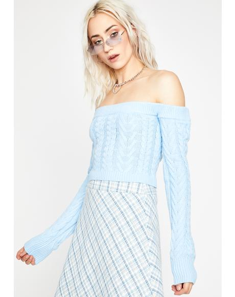 Sky Takin' Cues Cable Knit Sweater