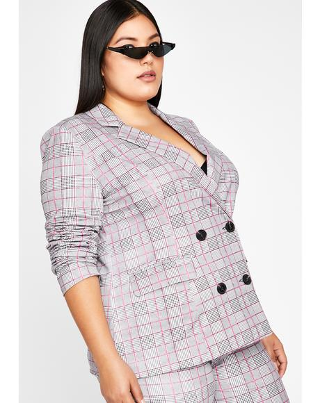 Ur Werkin' Woman Plaid Blazer
