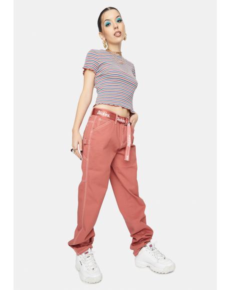 Terra Cotta Carpenter Pants With Logo Belt