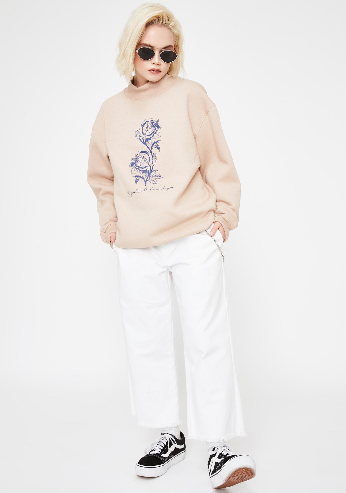 Daisy Street Flowers Mock Neck Graphic Sweatshirt