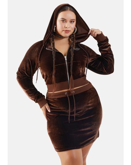 Cocoa Miss Kissed A Girl Velour Skirt Set