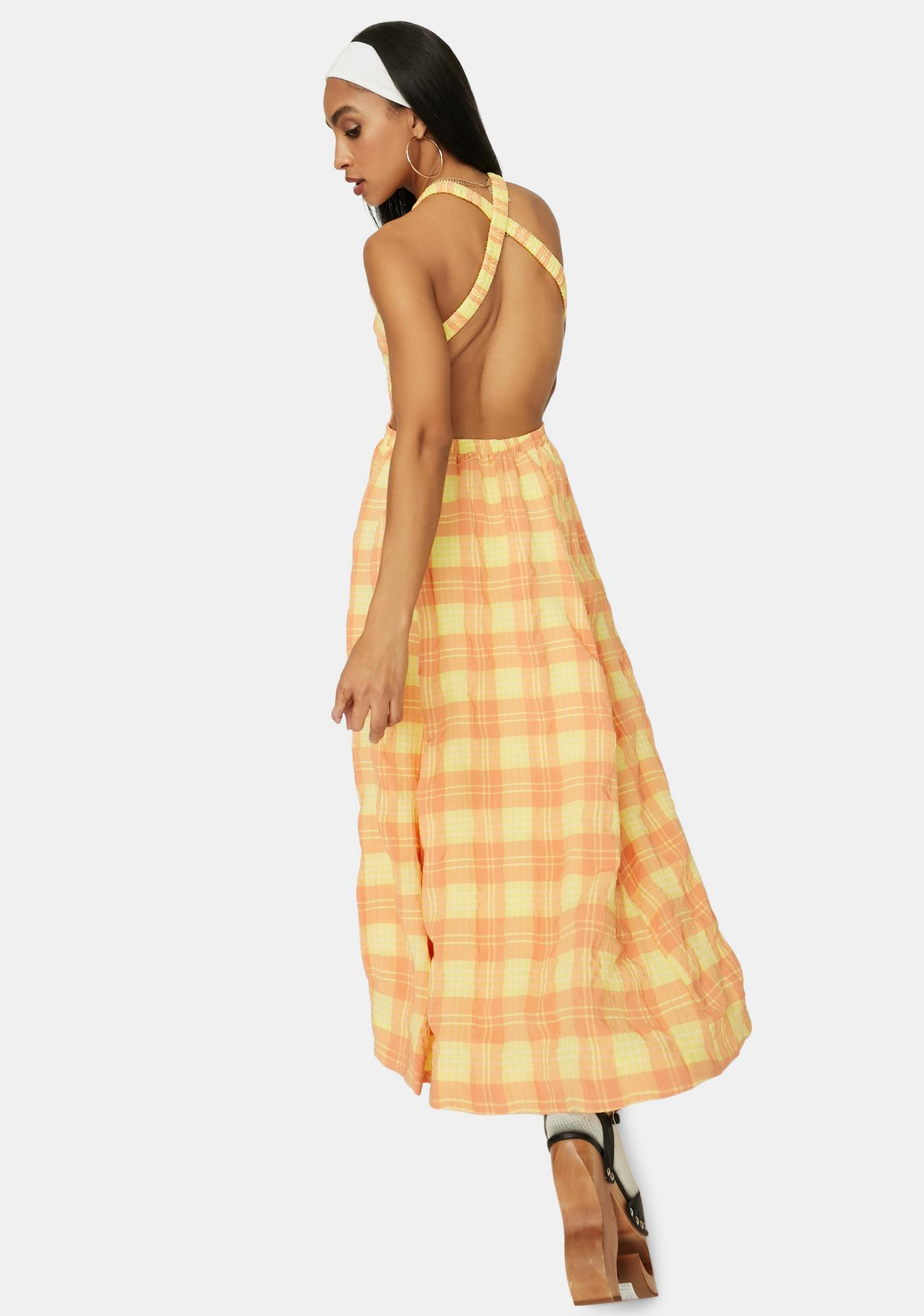 Sunset Dreams Plaid Maxi Dress