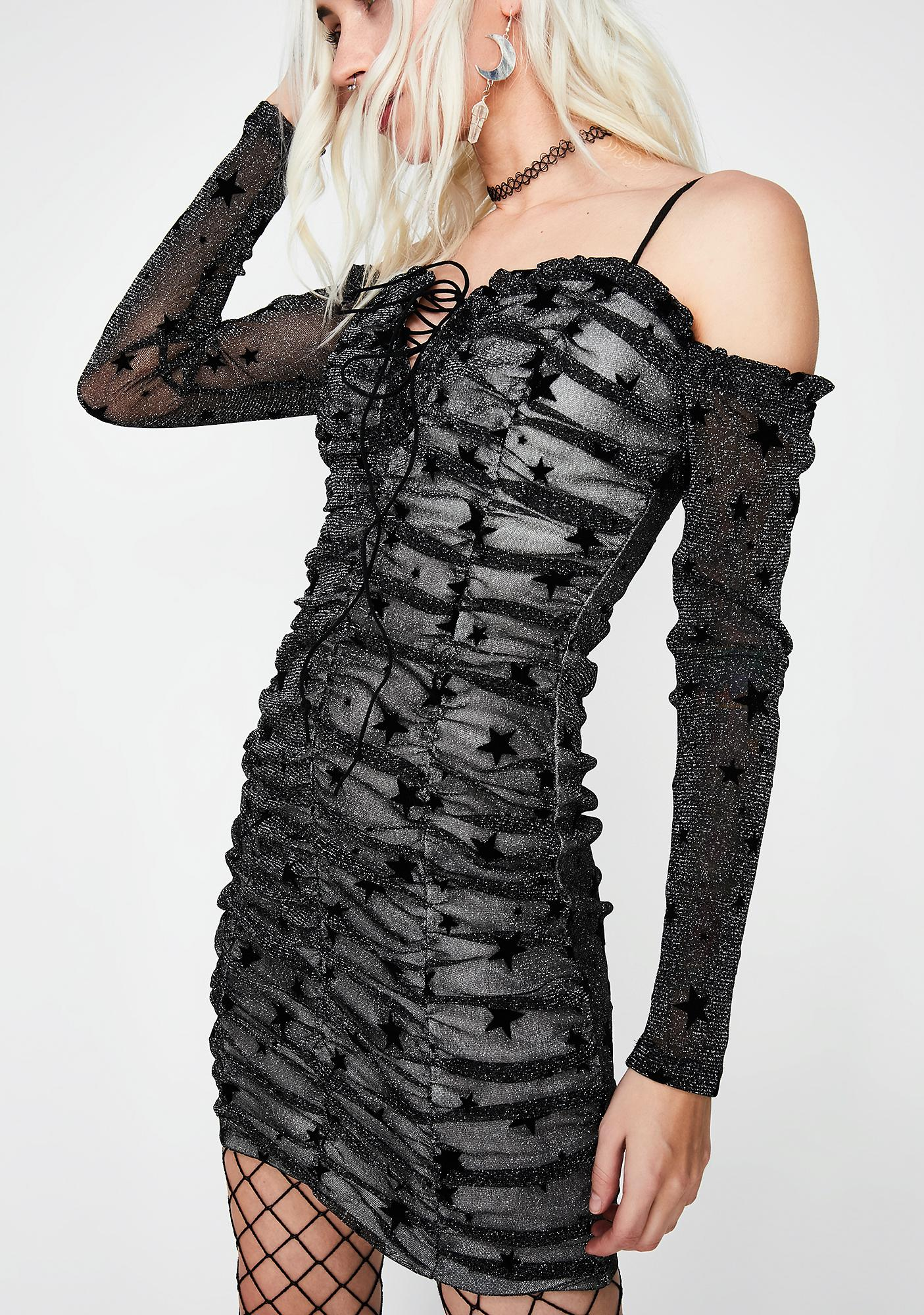 Cosmic Storm Ruched Dress