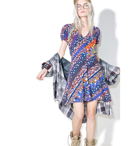 Motel Floral Stripe Tahnee Dress