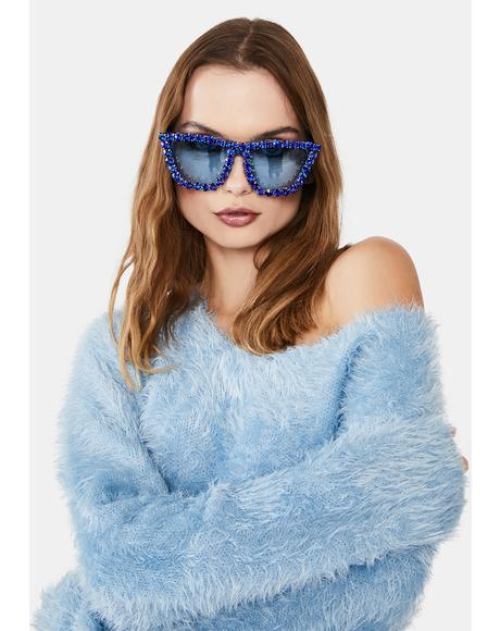 Azure Club Glam Rhinestone Oversized Sunglasses