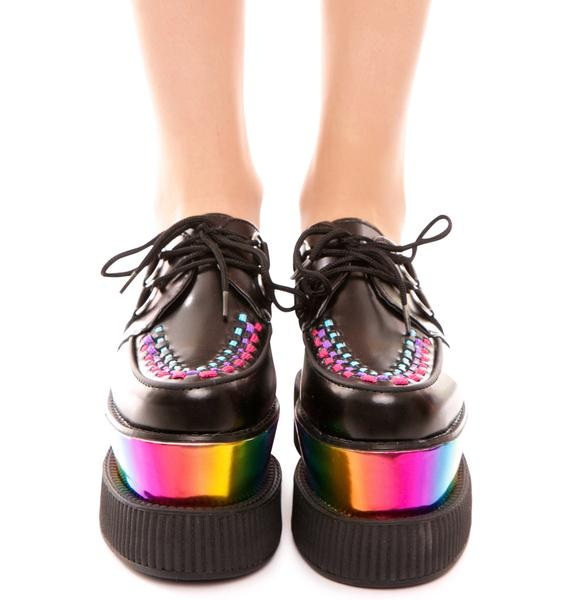 T.U.K. Double Stacked Rainbow Viva Mondo Creeper