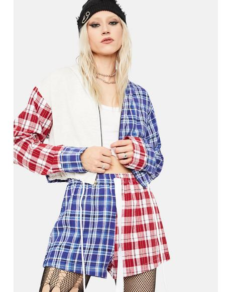 Taste Of Grunge Plaid Hoodie And Shorts Set