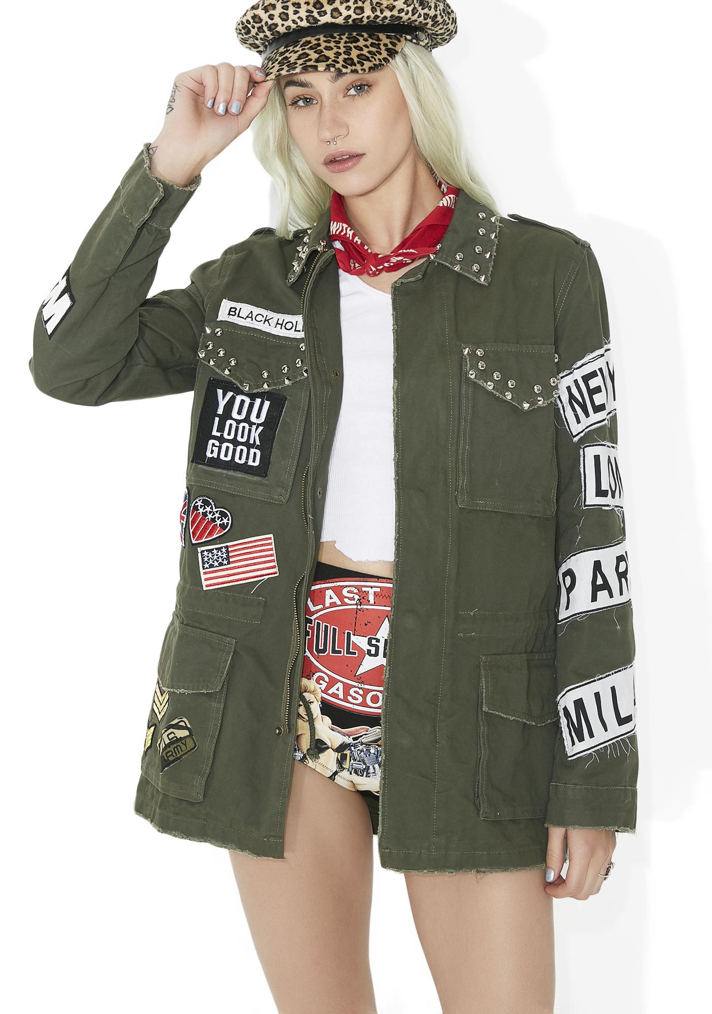 Patch Oversized Army Jacket