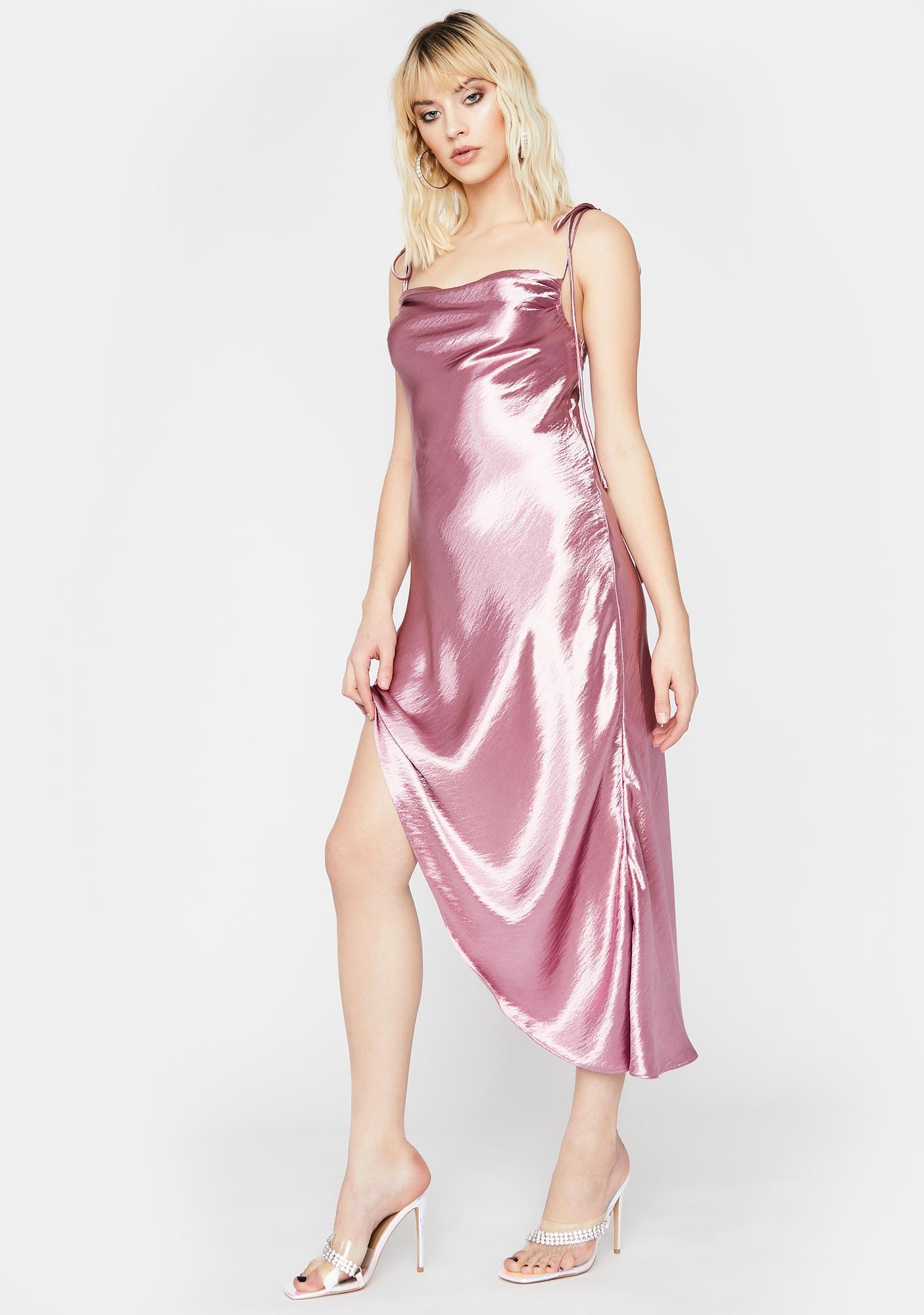 Mauve Hollywood Heartthrob Satin Dress