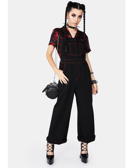 Welcome To Hell Wide Leg Overalls