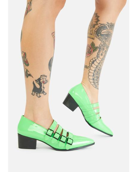 Green Coven Block Heels