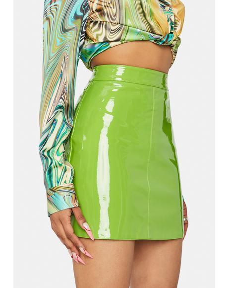 Lime Say Anything Babe Vinyl Mini Skirt