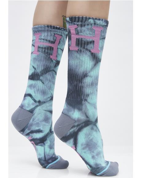 Classic H Crystal Wash Crew Socks