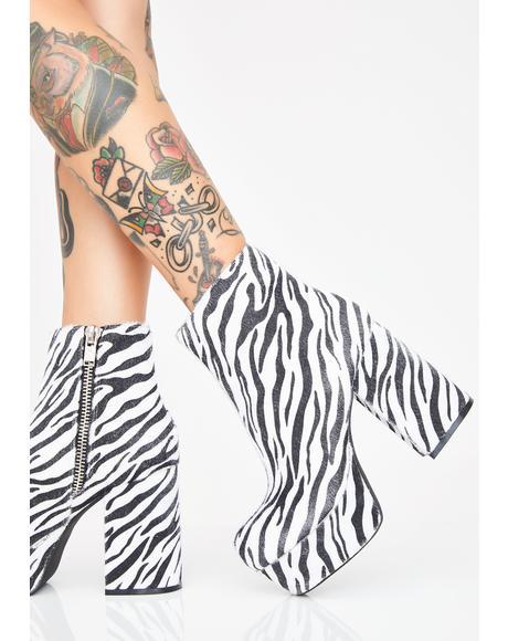 Baddie Instincts Zebra Boots
