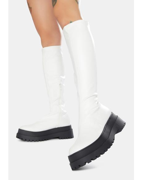 White Haunt Knee High Chunky Sole Boots