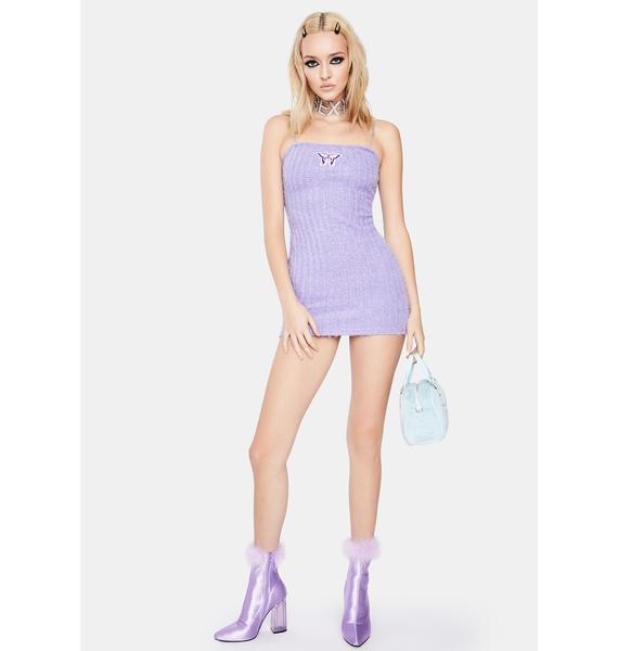 ZEMETA Fuzzy Butterfly Chain Dress