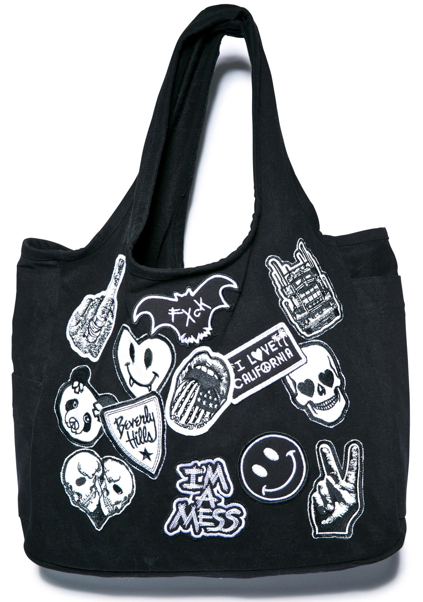 Lauren Moshi Taylor Patches Canvas Tote Bag