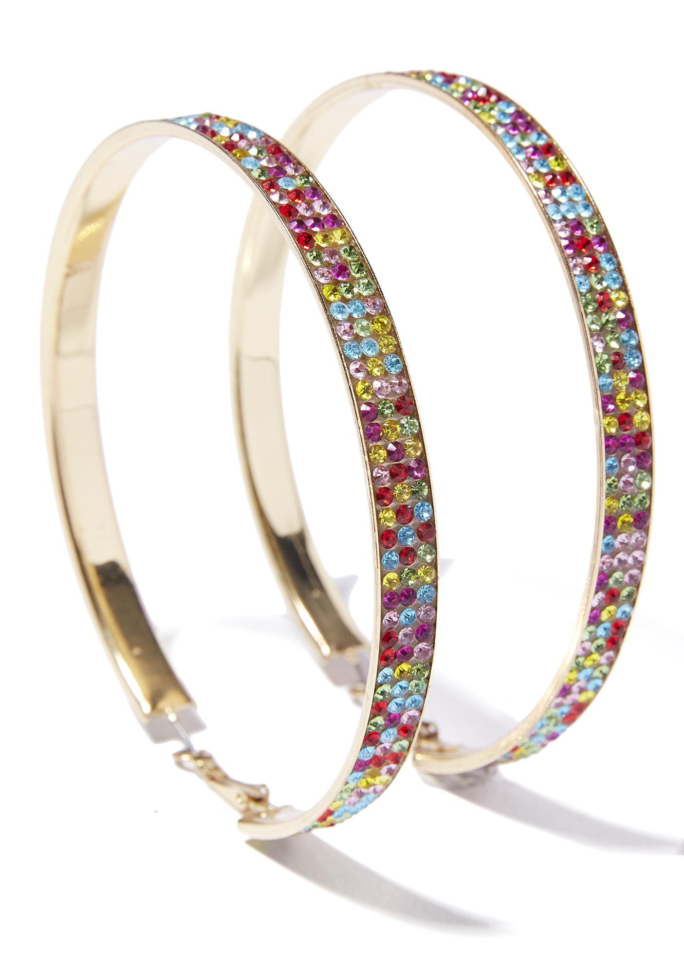 Rainbow Sparkle Seeker Rhinestone Hoop Earrings
