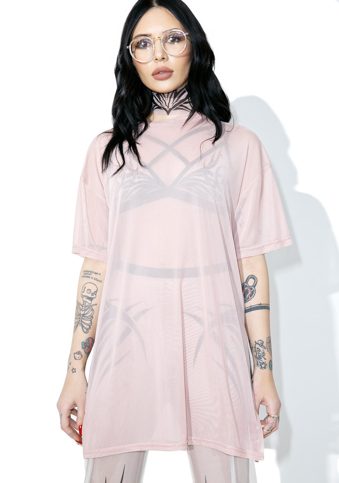 Pink Mesh Tee