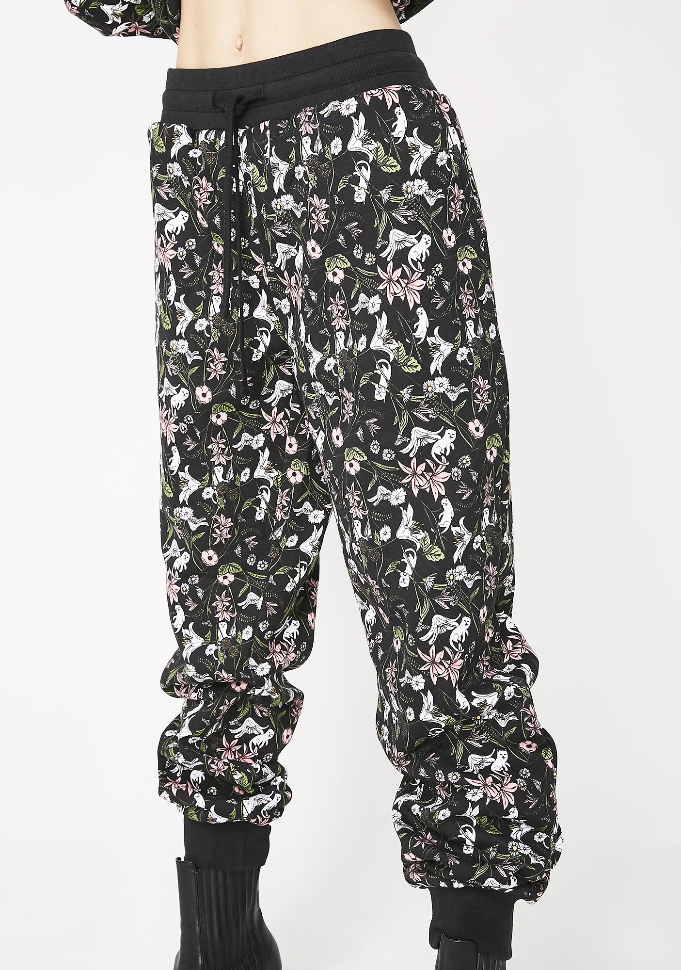 RIPNDIP Black Floral Sweatpants
