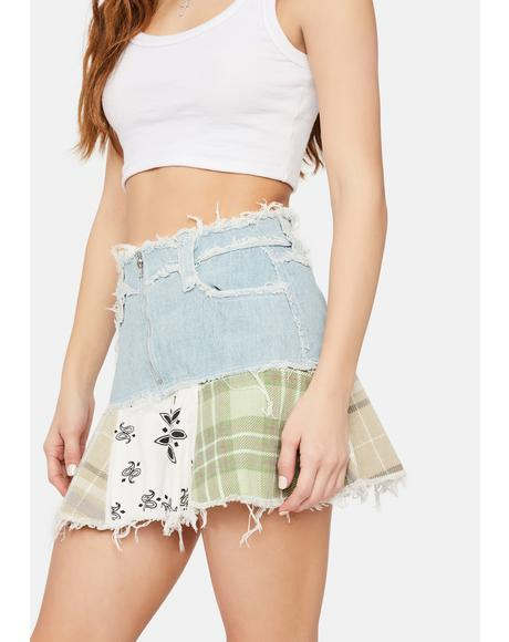 Denim Check Mix Distressed Peplum Mini Skirt