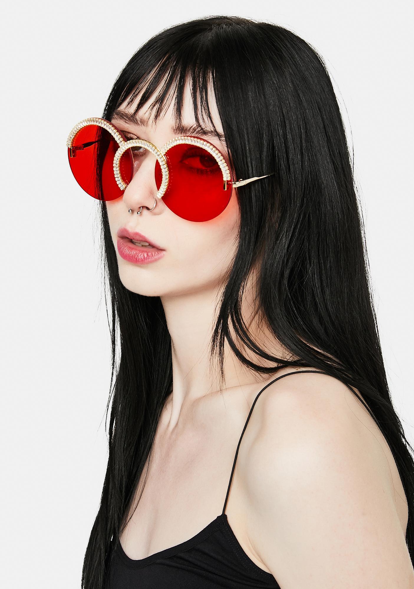 Fire Triple Threat Rhinestone Circle Sunglasses