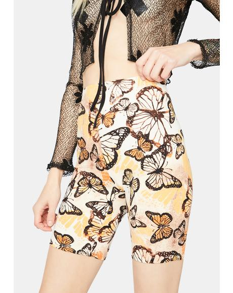 One With Nature Butterfly Biker Shorts