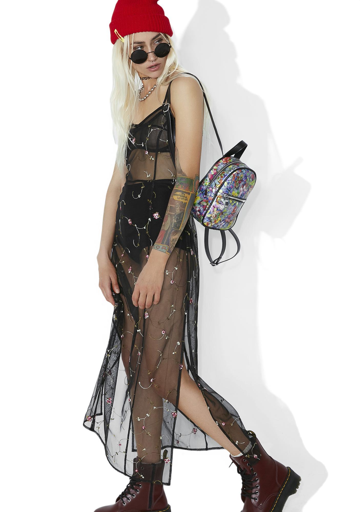 Buzzin' Embroidered Maxi Dress
