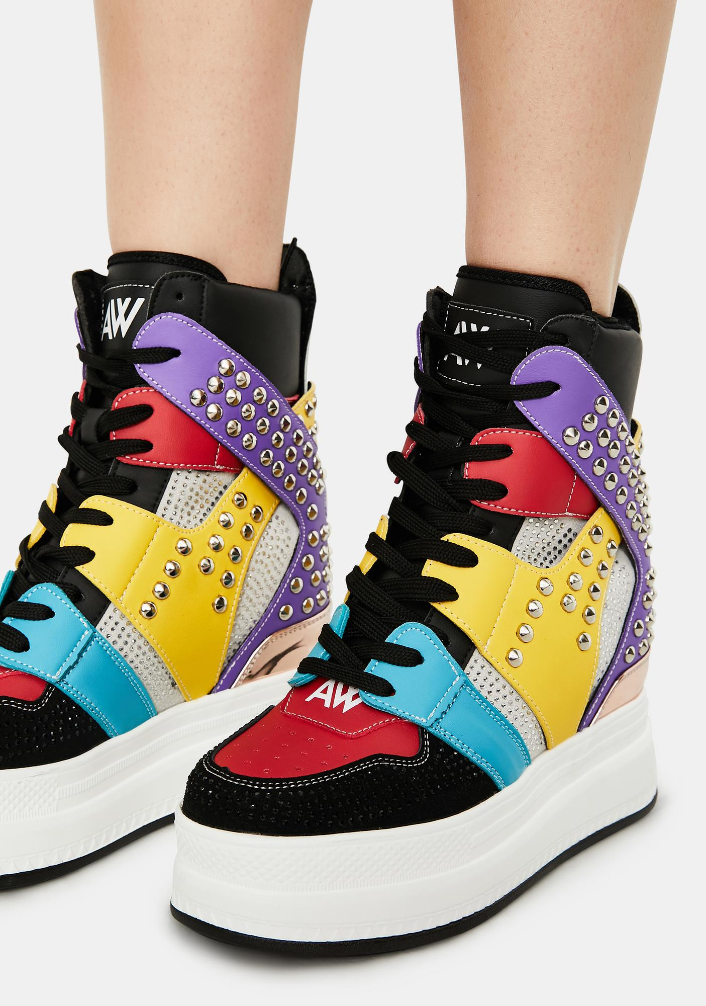 Anthony Wang Rainbow Quince Studded Wedge Sneakers