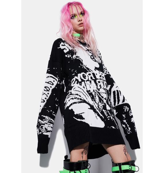 Current Mood Tonight We Mosh Intarsia Sweater