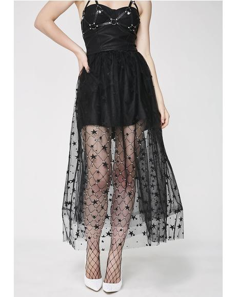 Night's Still Young Star Tulle Skirt