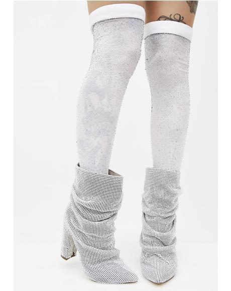 So Frosty Thigh High Socks