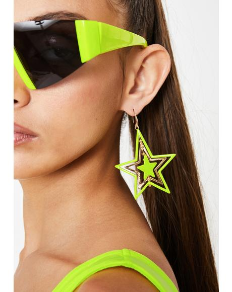 Alien Level Up Star Earrings