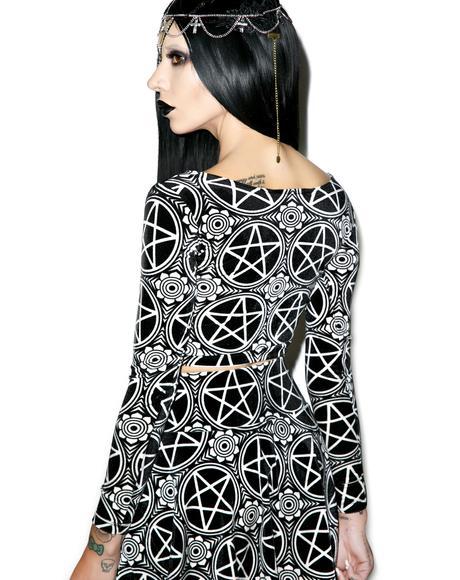 Pentagram Velvet Crop Top