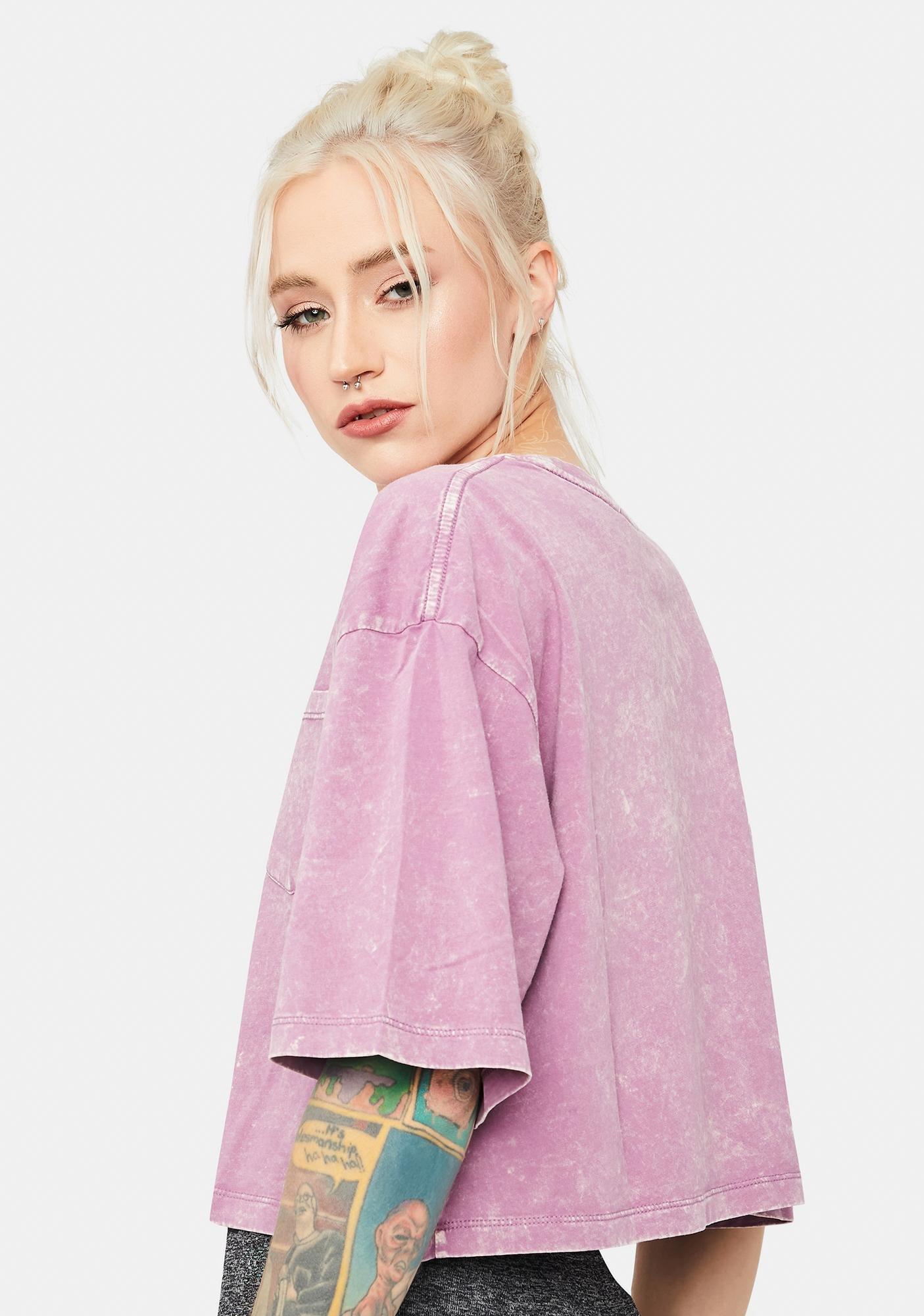 Orchid Grunge Nerves Acid Wash Cropped Pocket Tee