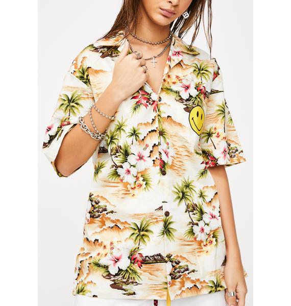 CHINATOWN MARKET Smiley Logo Hawaiian Shirt