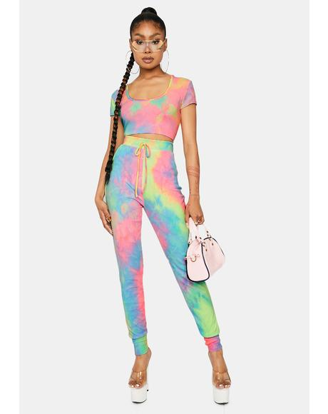 Past The Rainbow Tie Dye Jogger Set