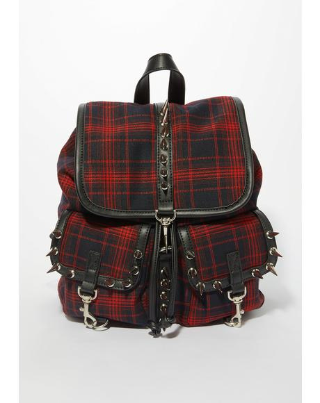 Born To Burn Plaid Backpack