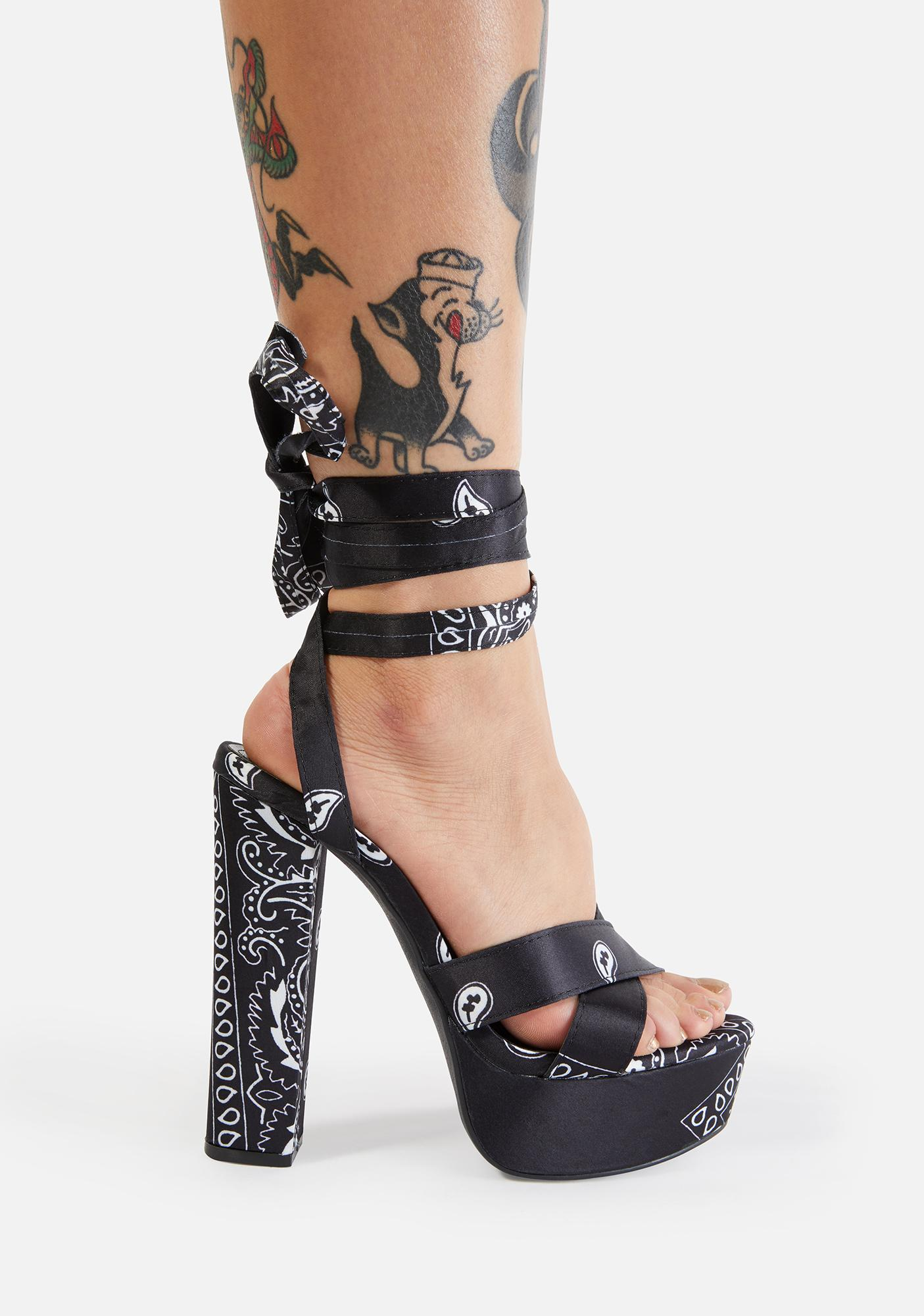 Night Wagon Wheel Wrap Heels