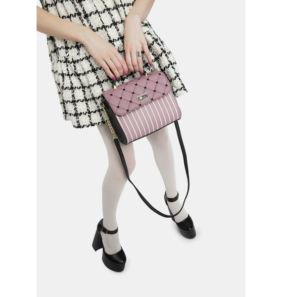 Betsey Johnson Mauve Quilted Chain Crossbody Bag