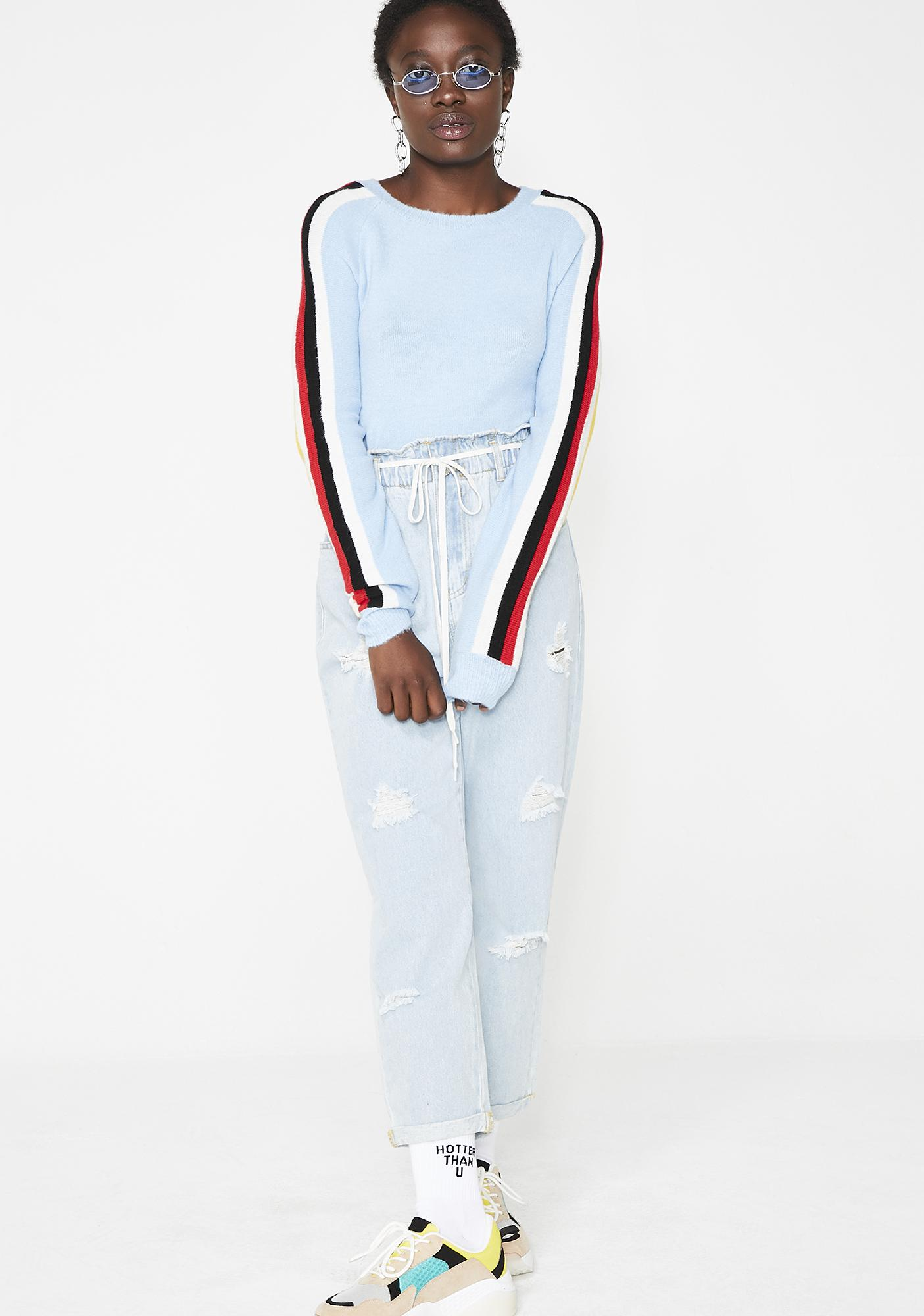 Aqua Grade A Cropped Sweater