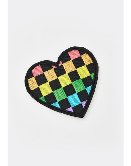 Checkered Prisms Heart Hair Clip