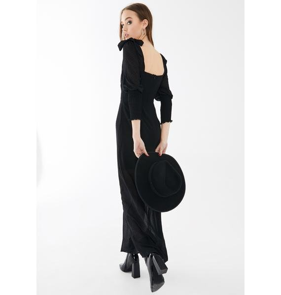 Glamorous Flocked Black Polka Dot Maxi Dress