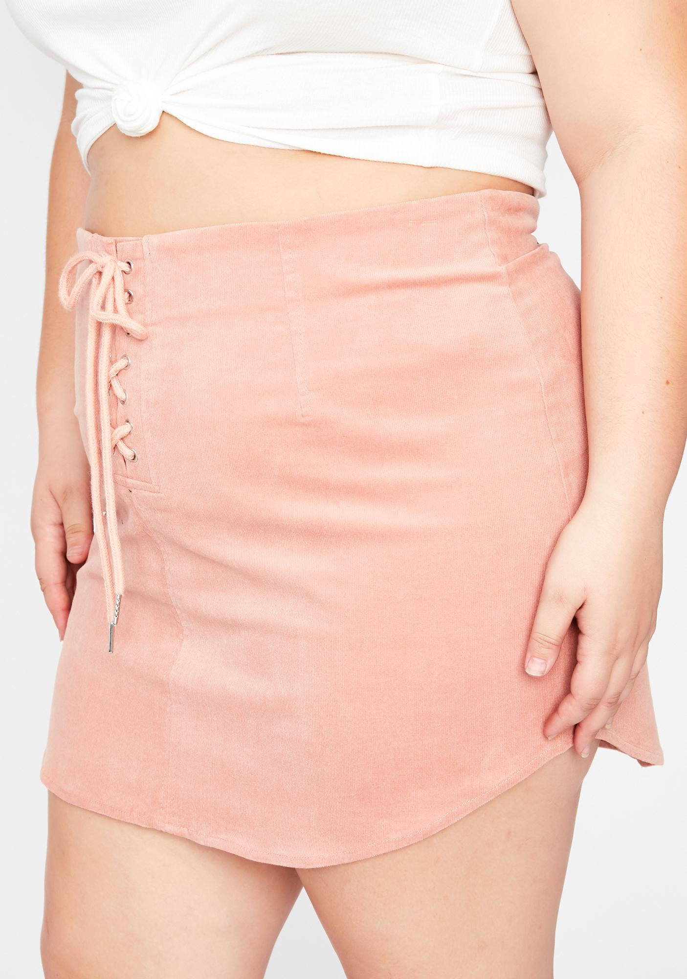 Baby I'm What U Want Lace Up Skirt