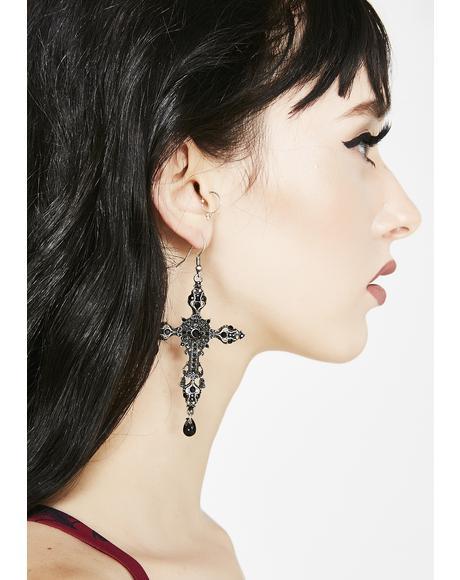 Silent Prayerz Cross Earrings