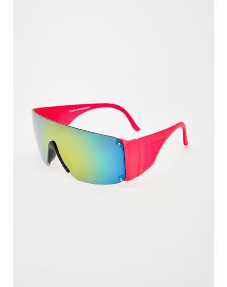 Red Neon Shield Sunglasses