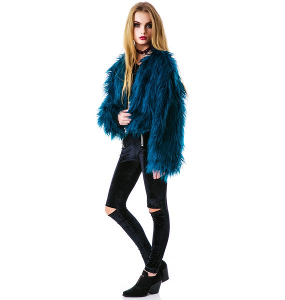 Bitching and Junkfood Juliet Cropped Faux Fur Jacket